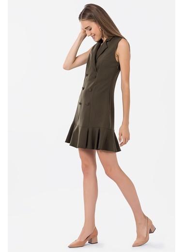 Kolsuz Kruvaze Elbise-İroni